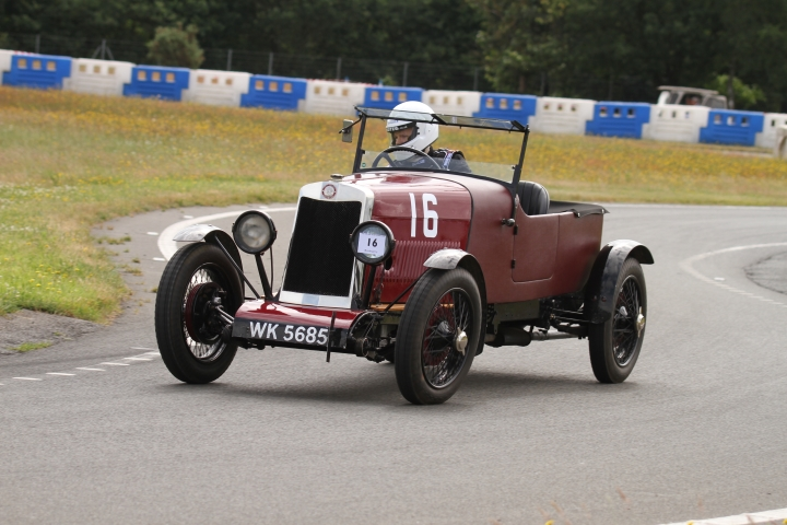 Colin Poynter driving his S Type Lea-Francis at Brooklands June 2018